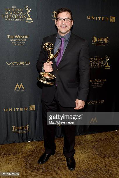 Actor Tyler Christopher poses in the press room with his Emmy for Outstanding Lead Actor in a Drama Series at the 43rd Annual Daytime Emmy Awards at...