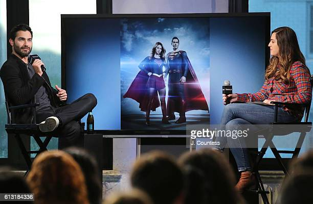 Actor Tyler Hoechlin and moderator Leigh Blickley attend The Build Series Presents Tyler Hoechlin Discussing 'Supergirl' at AOL HQ on October 7 2016...