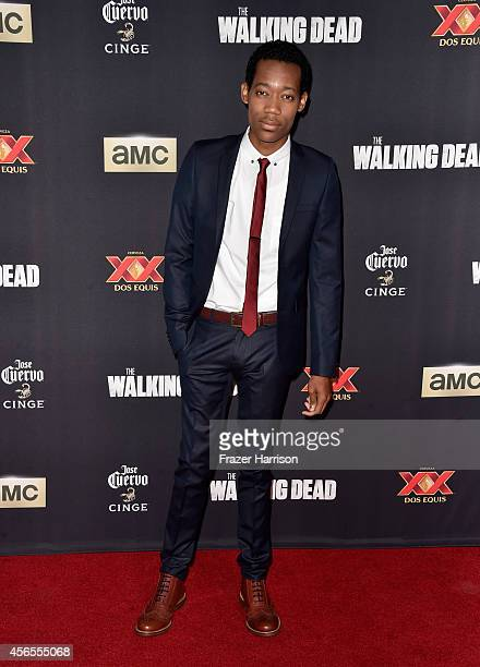 Actor Tyler James Williams attends the season 5 premiere of 'The Walking Dead' at AMC Universal City Walk on October 2 2014 in Universal City...