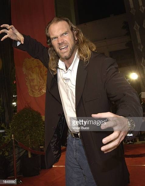 Actor Tyler Mane attends the premiere of the film 'Harry Potter and the Chamber of Secrets' on November 14 2002 in Westwood California The film is...
