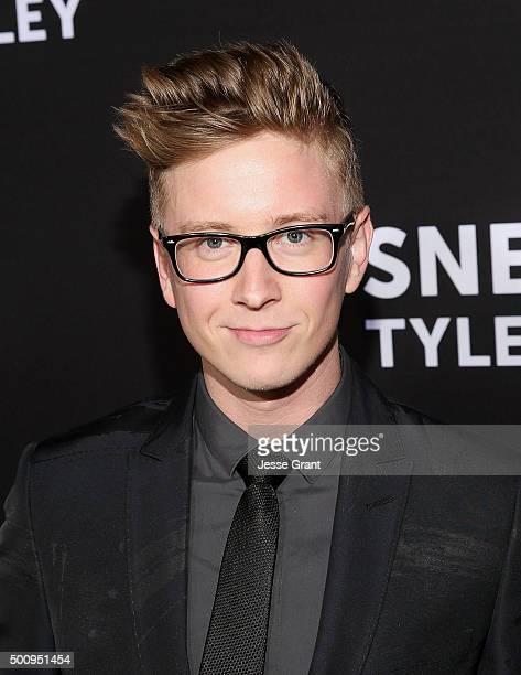 Actor Tyler Oakley attends the Premiere of Awesomeness Films' 'Snervous Tyler Oakley' at the Regency Bruin Theatre on December 10 2015 in Los Angeles...