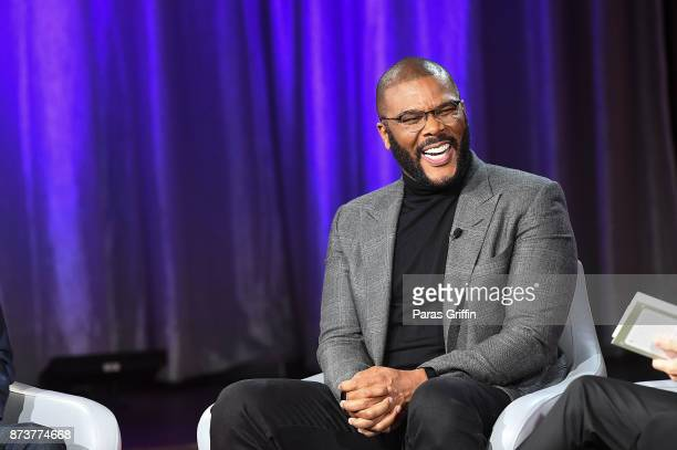 Actor Tyler Perry discuss his new book Higher Is Waiting during a SiriusXM 'Town Hall' event hosted by Joel Victoria Osteen on November 13 2017 at...