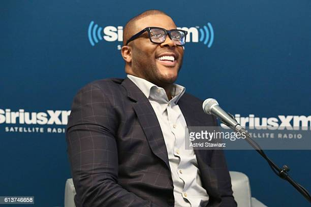 Actor Tyler Perry speaks during SiriusXM's 'Town Hall' With Tyler Perry at SiriusXM Studios on October 10 2016 in New York City