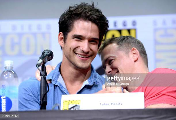 Actor Tyler Posey and executive producer Jeff Davis speak onstage at the 'Teen Wolf' panel during ComicCon International 2017 at San Diego Convention...