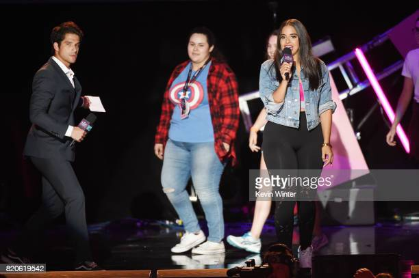 Actor Tyler Posey and MTV VJ Nessa interact with fans onstage during MTV Fandom Fest at PETCO Park on July 21 2017 in San Diego California