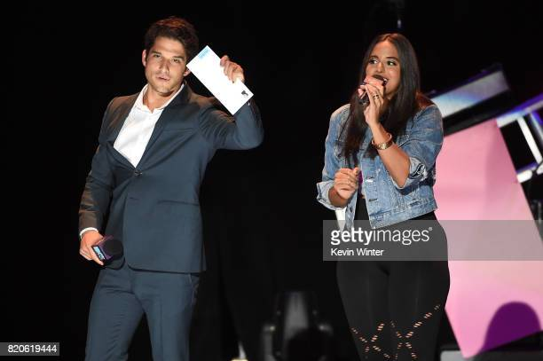 Actor Tyler Posey and MTV VJ Nessa speak onstage during MTV Fandom Fest at PETCO Park on July 21 2017 in San Diego California