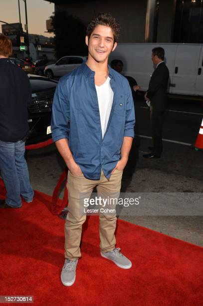 Actor Tyler Posey arrives at the Los Angeles premiere of 'Pitch Perfect' at ArcLight Hollywood on September 24 2012 in Hollywood California