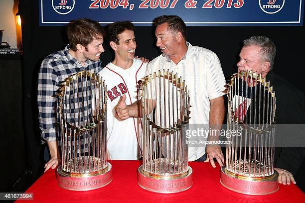 Actor Tyler Ritter singer/actor Joey McIntyre former professional baseball player Kevin Millar and actor Jack McGee attend a Red Sox charity event to...