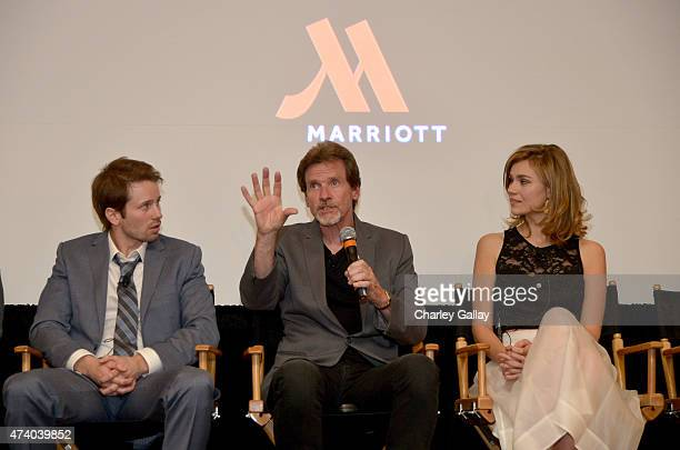 Actor Tyler Ritter writer/director John Gray and actress Margot Luciarte speak onstage during the The Marriott Content Studio's French Kiss film...