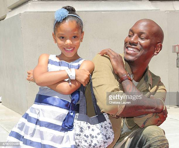 Actor Tyrese Gibson and daughter Shayla Somer Gibson arrive at the premiere of the 'Fast Furious Supercharged' Ride at Universal Studios Hollywood on...