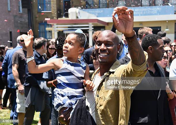 Actor Tyrese Gibson and daughter Shayla Somer Gibson attends the premiere press event for the new Universal Studios Hollywood Ride Fast...