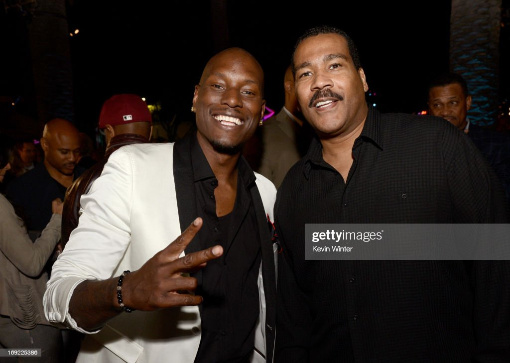 Actor Tyrese Gibson (L) and Dexter Scott King, son of Martin Luther King, Jr. pose at the after party for the premiere of Universal Pictures' 'Fast & Furious 6' at the Gibson Amphitheatre on May 21, 2013 in Universal City, California.
