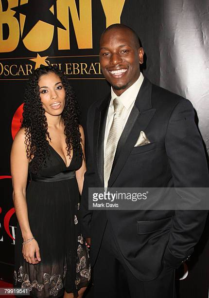 Actor Tyrese Gibson and his wife arrive at the Ebony Magazine PreOscar CelebrationTake 4 held at Boulevard 3 on February 21 2008 in Hollywood...