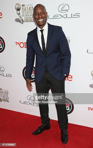 Actor Tyrese Gibson attends the 45th NAACP Image Awards presented by TV One at Pasadena Civic Auditorium on February 22 2014 in Pasadena California