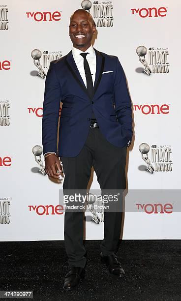 Actor Tyrese Gibson poses in the press room during the 45th NAACP Image Awards presented by TV One at Pasadena Civic Auditorium on February 22 2014...