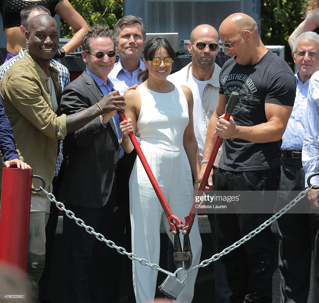 Actor Tyrese Gibson, president and COO of Universal Studios Hollywood Larry Kurzweil, CEO of NBCUniversal Steve Burke, actors Michelle Rodriguez, Jason Statham and Vin Diesel attend the premiere of the 'Fast & Furious - Supercharged' Ride at Universal Studios Hollywood on June 23, 2015 in Universal City, California.
