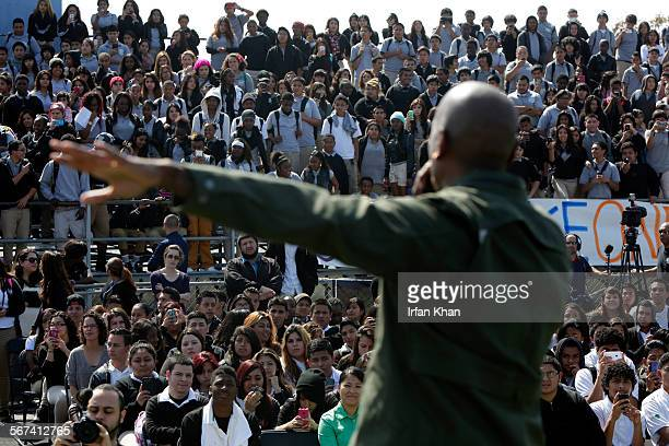 Actor Tyrese Gibson speaks to students during a surprise visit to his former Alain LeRoy Locke High School where he shared his personal story in...