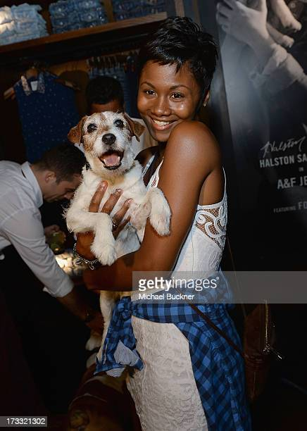 Actor Uggie and actress Emayatzy Corinealdi of Abercrombie Fitch's 2013 Stars on the Rise celebrated this year's back to school campaign on July 11th...