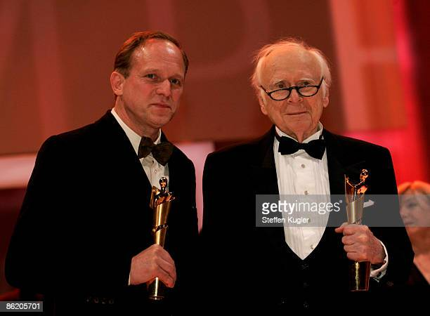Actor Ulrich Tukur and comedian Vicco von Buelow pose with their awards after the German Film Award 2009 at the Palais am Funkturm on April 24 2009...