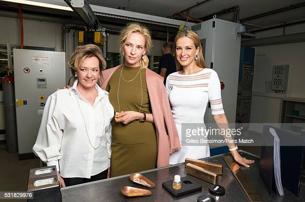 Actor Uma Thurman ambassadress to Jewellery designer Chopard is photographed for Paris Match with Caroline Scheufele codirector of Chopard and the...