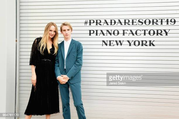 Actor Uma Thurman and Levon ThurmanHawke attend the Prada Resort 2019 fashion show on May 4 2018 in New York City