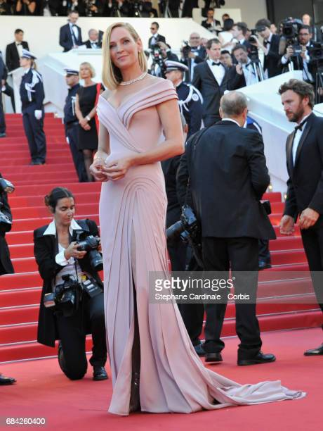 Actor Uma Thurman attends the Ismael's Ghosts screening and Opening Gala during the 70th annual Cannes Film Festival at Palais des Festivals on May...