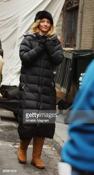 Actor Uma Thurman is seen on the set for the movie 'Super ExGirlfriend' while filming with Luke Wilson in TriBeCa on October 21 2005 in New York City