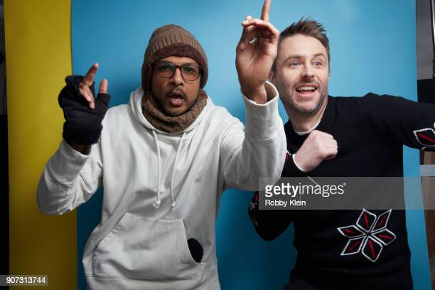 Actor Utkarsh Ambudkar and Comedian Chris Hardwick pose for a portrait in the YouTube x Getty Images Portrait Studio at 2018 Sundance Film Festival...