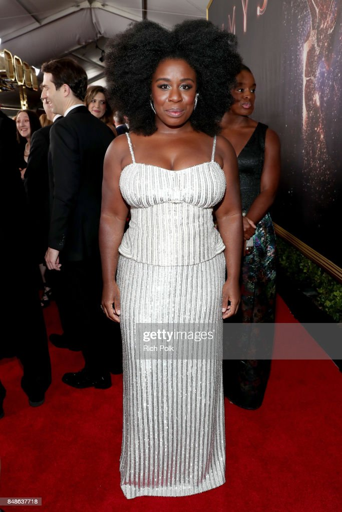 Actor Uzo Aduba walks the red carpet during the 69th Annual Primetime Emmy Awards at Microsoft Theater on September 17, 2017 in Los Angeles, California.