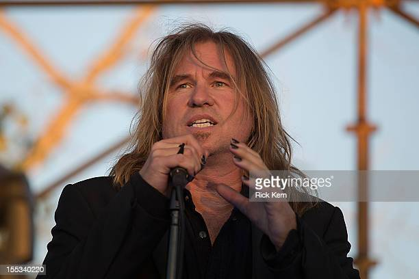 Actor Val Kilmer acts on stage while filming the new Terrence Malick movie during day one of Fun Fun Fun Fest at Auditorium Shores on November 2 2012...