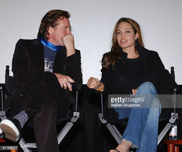 """Actor Val Kilmer and actress Angelina Jolie answer questions from the audience during Q & A following the Variety Screening Series - """"Alexander"""" at..."""