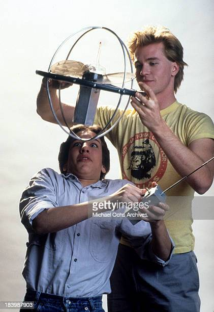 Actor Val Kilmer and Gabe Jarret pose for the Tri Star Pictures movie 'Real Genius' in 1985