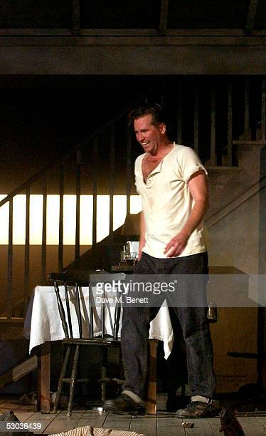 Actor Val Kilmer appears at the curtain call following the press night for The Postman Always Rings Twice at The Playhouse Theatre on June 7 2005 in...