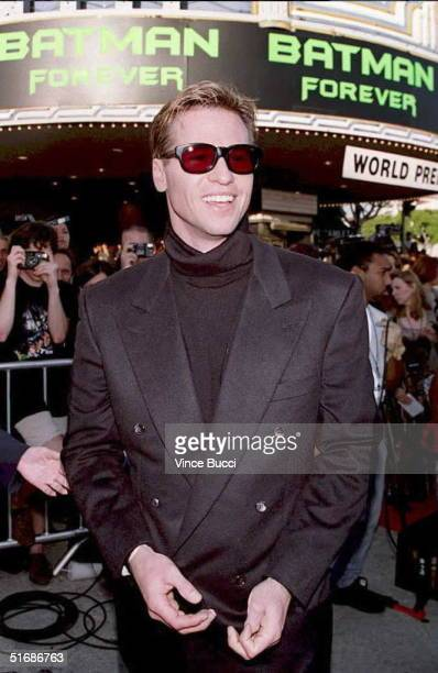 US actor Val Kilmer arrives at the world premiere of the movie 'Batman Forever' 09 June in Westwood California Kilmer replaces Michael Keaton as...