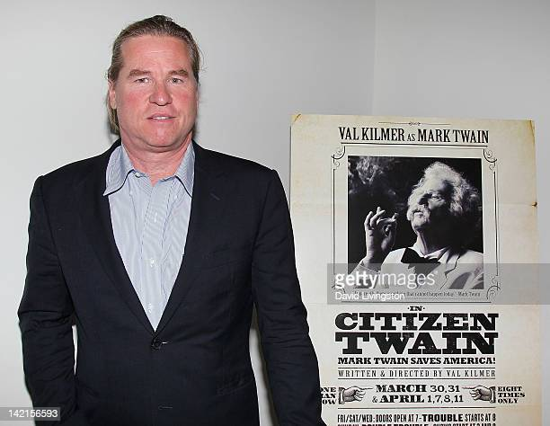 Actor Val Kilmer attends a signing at the opening night of his one man show 'Citizen Twain' at Hollywood Forever on March 30 2012 in Hollywood...