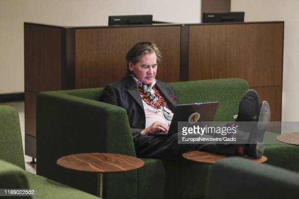Actor Val Kilmer visits the United Nations headquarters in New York City, New York to promote the 17 Sustainable Development Goals initiative, July...