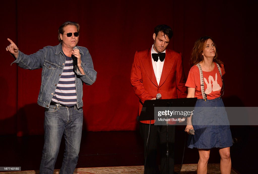 Actor Val Kilmer, Will Forte and Kristen Wiig perform at the One Kid One World Night of (At Least) 18 Laughs) at Largo on April 28, 2013 in Los Angeles, California.