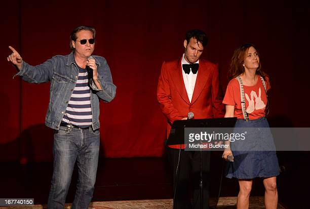 Actor Val Kilmer Will Forte and Kristen Wiig perform at the One Kid One World Night of 18 Laughs at Largo on April 28 2013 in Los Angeles California