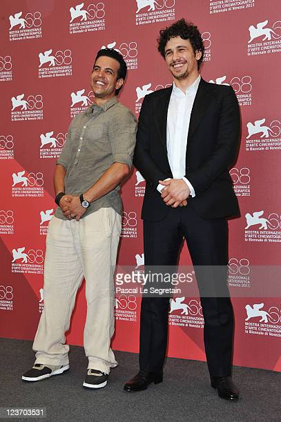 Actor Val Lauren and director/actor James Franco pose at the Sal photocall during the 68th Venice Film Festival at the Palazzo del Cinema on...