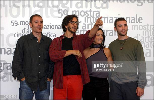 Actor Valerio Mastandrea director Daniele Vicari actress Alessia Barela and actor Cristiano Morroni in Venice Italy in September 2002