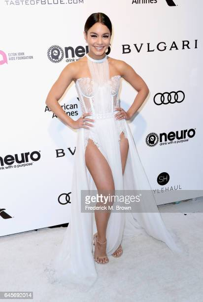 Actor Vanessa Hudgens attends the 25th Annual Elton John AIDS Foundation's Academy Awards Viewing Party at The City of West Hollywood Park on...