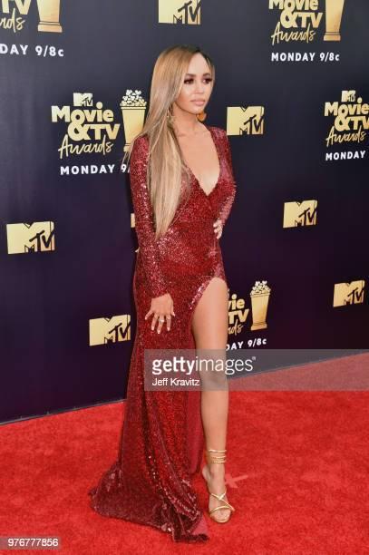 Actor Vanessa Morgan attends the 2018 MTV Movie And TV Awards at Barker Hangar on June 16 2018 in Santa Monica California