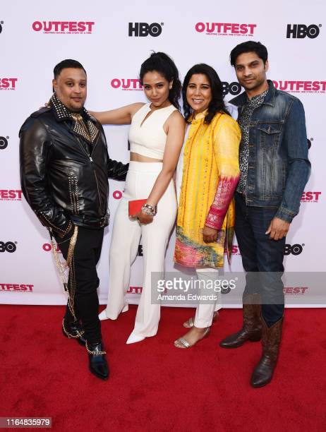 Actor Venk Modur actress Uttera Singh writer and director Nisha Ganatra and actor Rupak Ginn arrive at the 2019 Outfest Los Angeles LGBTQ Film...