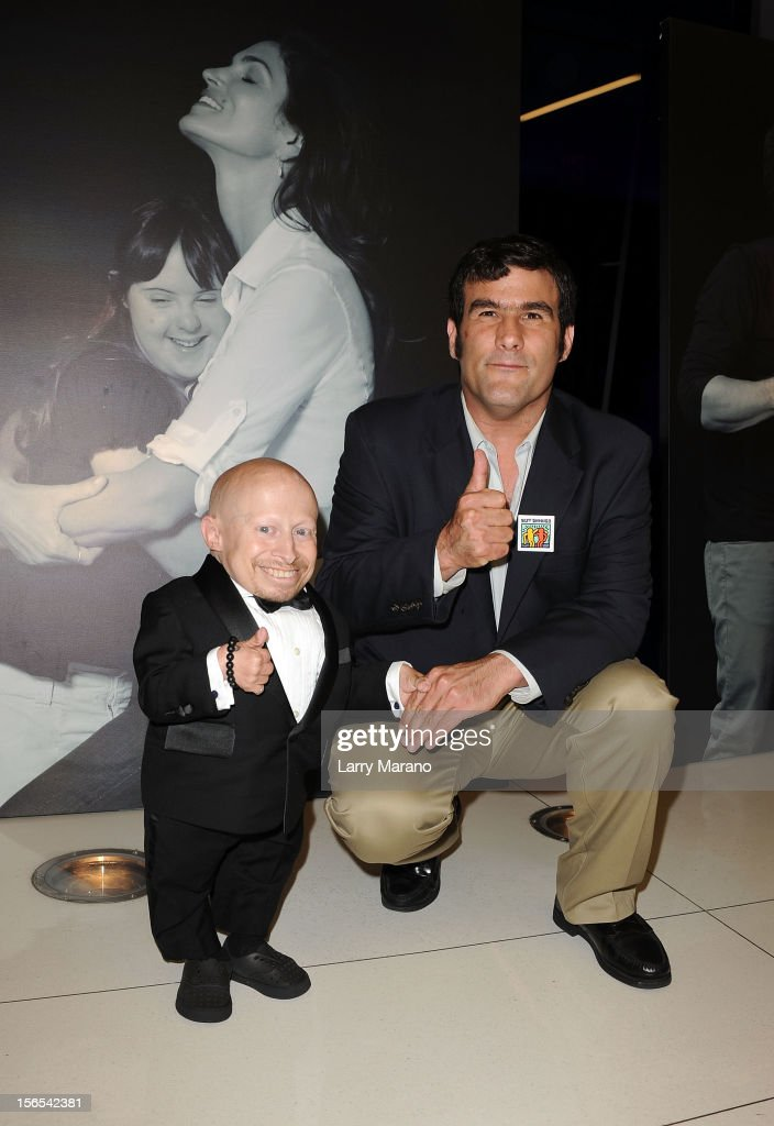 Actor Verne Troyer and Buddy Jorge Morilla attend the Zenith Watches Best Buddies Miami Gala at Marlins Park on November 16, 2012 in Miami, Florida.