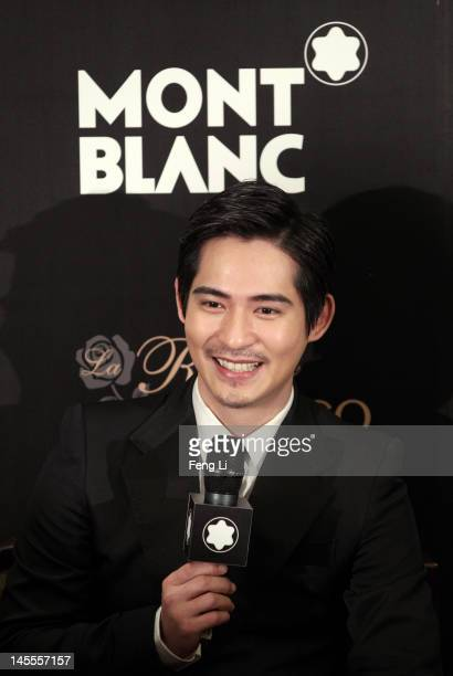 Actor Vic Chow speaks during interviews for the official opening of the Montblanc Sanlitun Concept Store held at the JW Marriott Hotel Beijing on...