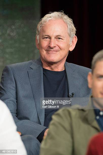 Actor Victor Garber serves as a panelist during the 'Arrow' and 'The Flash' panel as part of The CW 2015 Winter Television Critics Association press...