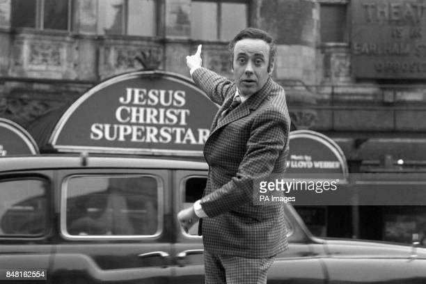 Actor Victor Spinetti who found fame in Joan Littlewood's production of Oh What A Lovely War seen outside the Palace Theatre Cambridge Circus London...