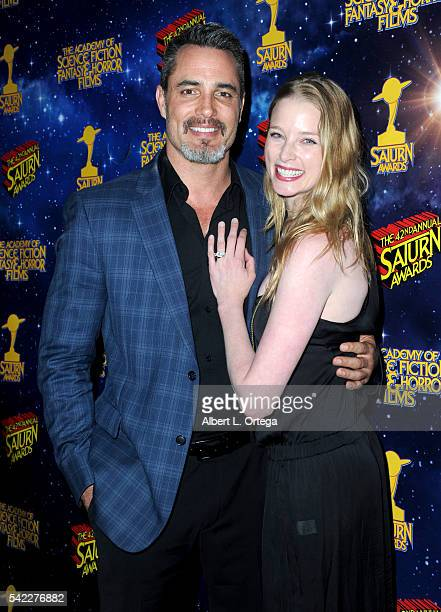 Actor Victor Webster and actress Rachel Nichols pose in the pressroom at the 42nd annual Saturn Awards at The Castaway on June 22 2016 in Burbank...