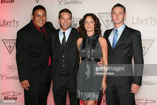 Actor Victor Wolfe actor Wes Chatham actress Natalie Brown and actor Jake McLaughlin attend the In The Valley Of Elah premiere after party at The...