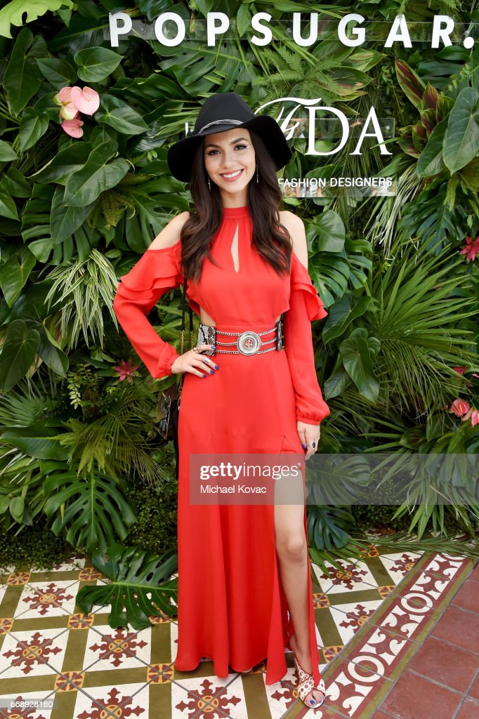 Actor Victoria Justice attends POPSUGAR and The Council of Fashion Designers of America's (CFDA) Brunch with Designers Emily Current and Meritt Elliott of THE GREAT., and Clare Vivier of Clare V. at the POPSUGAR Cabana Club at Colony Palms Hotel on April 15, 2017 in Palm Springs, California.